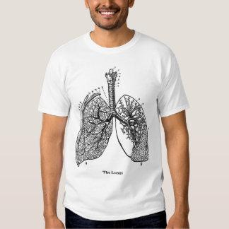 Pulmones médicos del vintage de la anatomía retra playeras