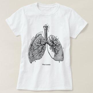 Pulmones médicos del vintage de la anatomía retra remera