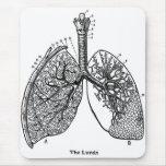 Pulmones médicos del vintage de la anatomía retra alfombrilla de ratón