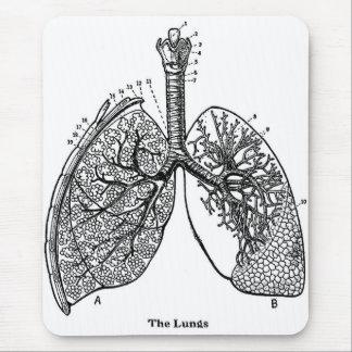 Pulmones médicos del vintage de la anatomía retra tapetes de raton