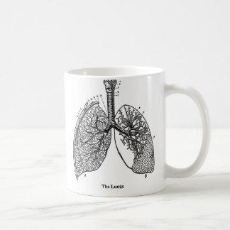 Pulmones médicos del vintage de la anatomía retra taza de café