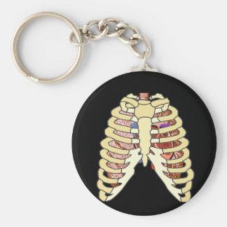 Pulmones y corazón de la caja torácica llavero redondo tipo pin