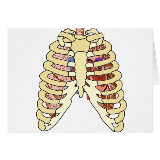 Pulmones y corazón de la caja torácica tarjeta de felicitación