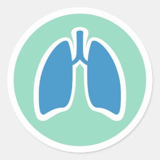 Pulmonology o logotipo del pulmón del pegatina redonda