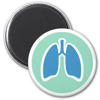 Pulmonology o logotipo del pulmón del pulmonologis imán redondo 5 cm