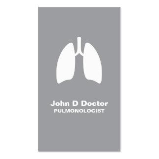 Pulmonology o tarjeta de visita gris del pulmonolo