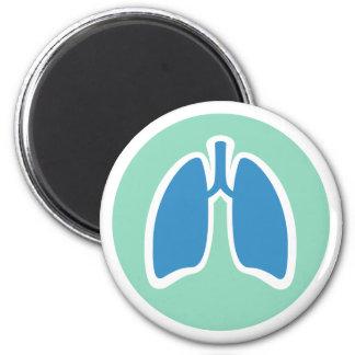 Pulmonology or pulmonologist lung logo round fridge magnet
