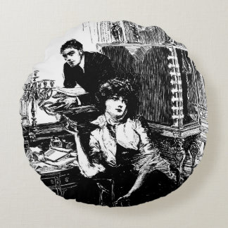 Pulp Fiction Woman and Man Vintage Illustration Round Pillow