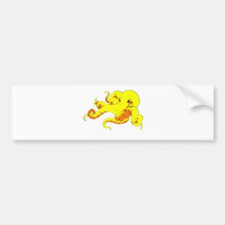 Pulpo amarillo pegatina para auto