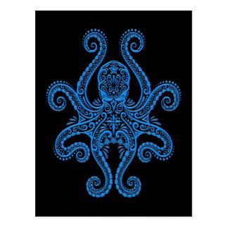 Pulpo azul complejo en negro tarjetas postales