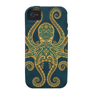 Pulpo azul de oro complejo iPhone 4/4S fundas