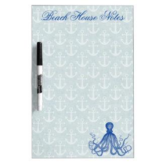 Pulpo azul del vintage con las anclas de encargo tableros blancos