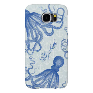 Pulpo azul del vintage con las anclas funda samsung galaxy s6