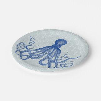 Pulpo azul del vintage con las anclas plato de papel de 7 pulgadas
