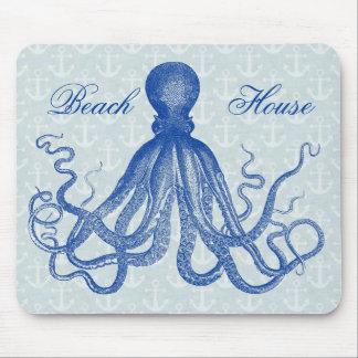 Pulpo azul del vintage con las anclas mouse pad
