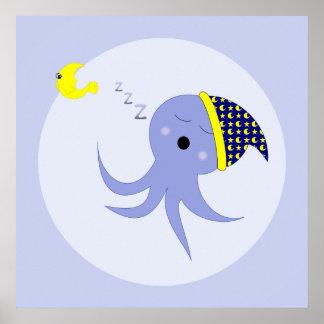 Pulpo azul el dormir poster
