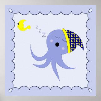 Pulpo azul el dormir posters