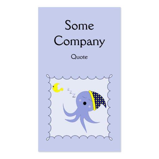 Pulpo azul el dormir plantillas de tarjeta de negocio
