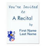 pulpo azul que juega percussion.png múltiple invitación 10,8 x 13,9 cm