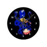 pulpo azul que juega percussion.png múltiple relojes de pared