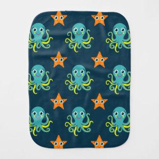 Pulpo azul y amarillo; Estrellas de mar anaranjada Paños De Bebé