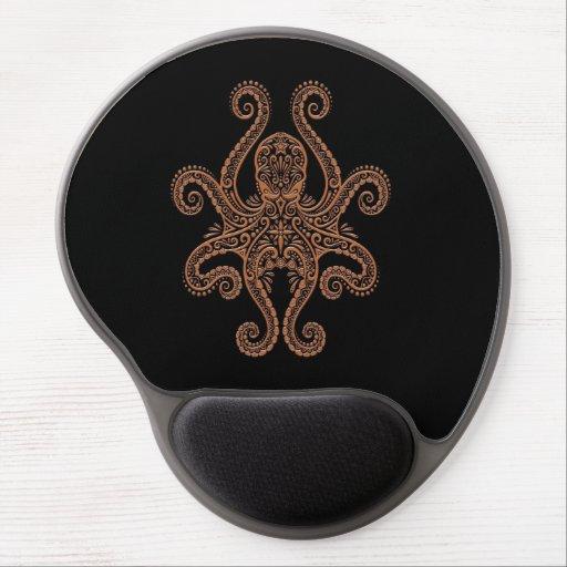 Pulpo complejo de Brown en negro Alfombrilla De Ratón Con Gel
