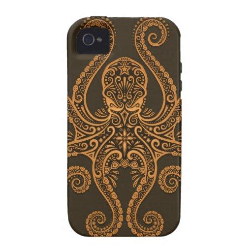 Pulpo complejo de Brown Vibe iPhone 4 Carcasas