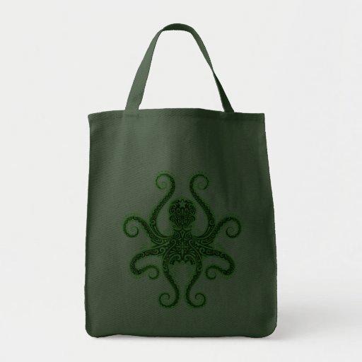Pulpo complejo, verde completo bolsa tela para la compra