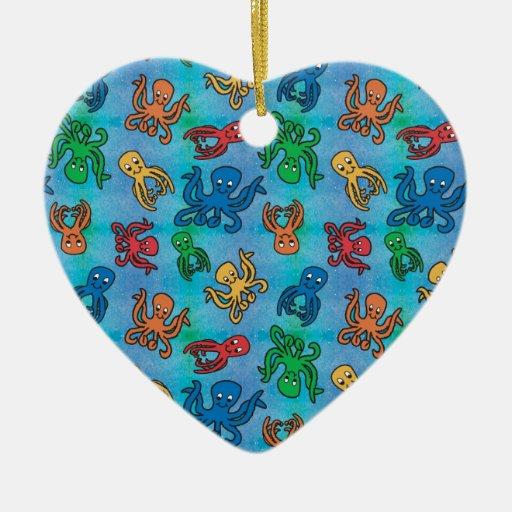 Pulpo de la chispa adorno navideño de cerámica en forma de corazón