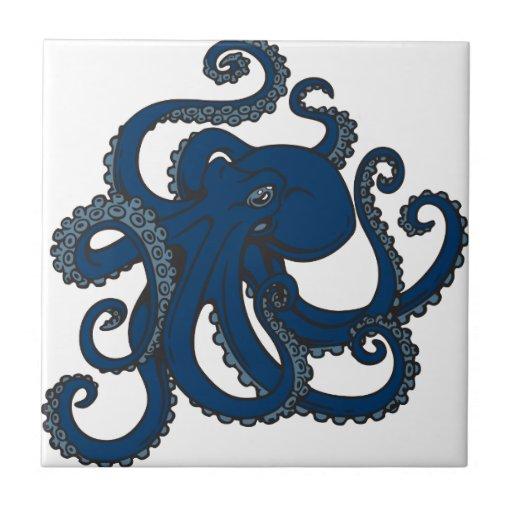 Pulpo de los azules marinos azulejos ceramicos