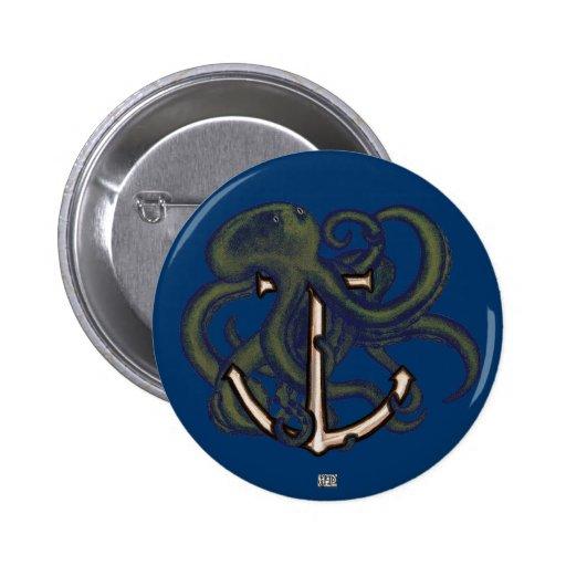 Pulpo de Steampunk sobre el ancla Pin Redondo De 2 Pulgadas
