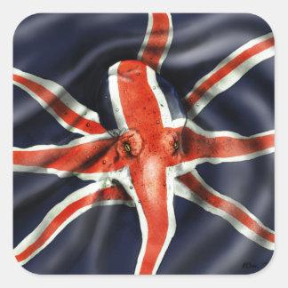 Pulpo de Union Jack Pegatina Cuadrada