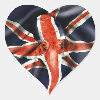 Pulpo de Union Jack Pegatina En Forma De Corazón