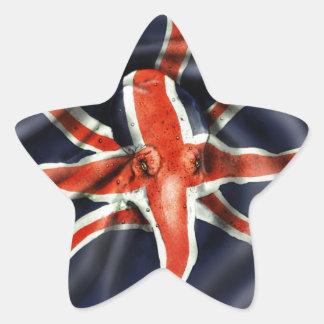 Pulpo de Union Jack Pegatina En Forma De Estrella