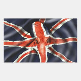 Pulpo de Union Jack Pegatina Rectangular