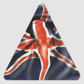 Pulpo de Union Jack Pegatina Triangular