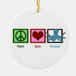 Pulpo del amor de la paz adorno redondo de cerámica