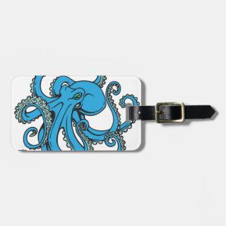 Pulpo del azul de océano etiquetas de equipaje