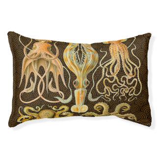 Pulpo del calamar de los cefalópodos del vintage cama para perro pequeño