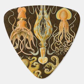 Pulpo del calamar de los cefalópodos del vintage plumilla de guitarra
