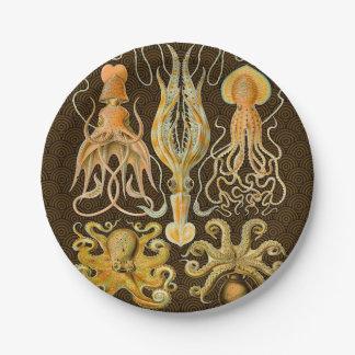 Pulpo del calamar de los cefalópodos del vintage plato de papel de 7 pulgadas