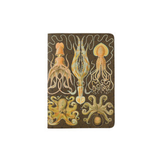 Pulpo del calamar de los cefalópodos del vintage porta pasaporte