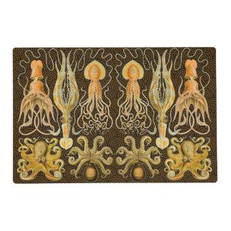 Pulpo del calamar de los cefalópodos del vintage salvamanteles