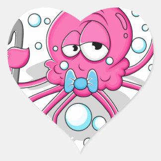 Pulpo del dibujo animado calcomania de corazon personalizadas