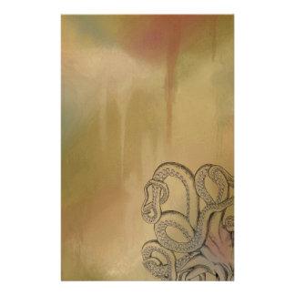 Pulpo del dibujo lineal en Brown Papeleria De Diseño