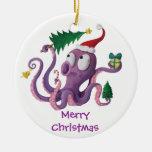 Pulpo del navidad adorno navideño redondo de cerámica