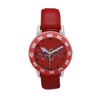 Pulpo del navidad con las rayas reloj de mano