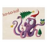 Pulpo del navidad tarjeta postal