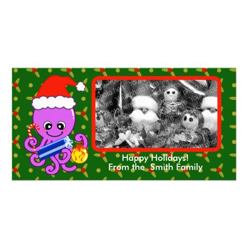 Pulpo del navidad tarjetas personales con fotos