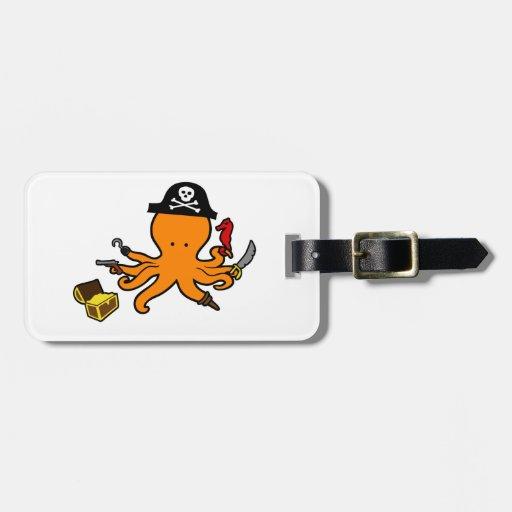 Pulpo del pirata etiquetas de equipaje